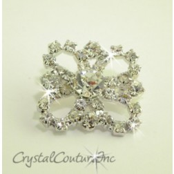 Crystal Rhinestone Flower Square Shape Embellishment