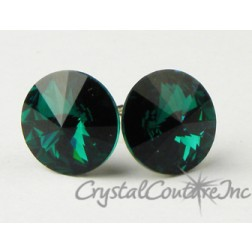 Emerald 10mm Rivoli Post Earrings made with SWAROVSKI ELEMENTS