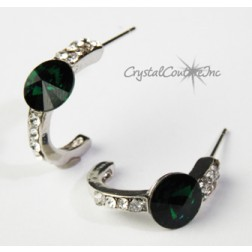 Emerald 8mm Rivoli Post Earrings with Rhinestone Half Hoop