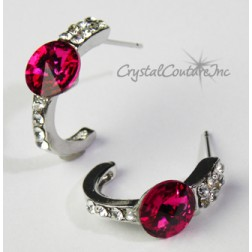 Fuchsia 8mm Rivoli Post Earrings with Rhinestone Half Hoop