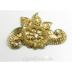 Gold Beaded & Sequin Applique