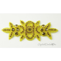 Light Colorado Topaz Rhinestone and Yellow/Gold Beaded Applique