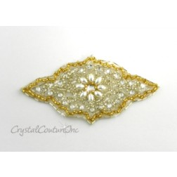 Gold Bead/Pearl & Crystal Rhinestone Applique