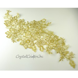 Gold/Cream Floral Lace Embroidered Applique