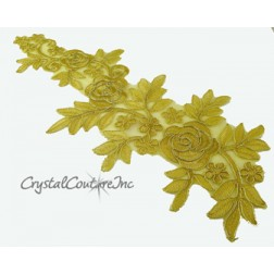 Gold Floral Lace Embroidered Applique