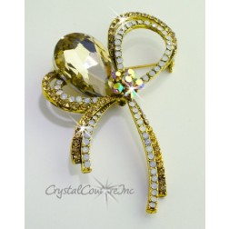 "Golden Shadow/White Opal Rhinestone Brooch 3.0"" x 1.75"""