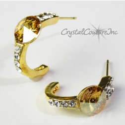 Golden Shadow/Gold 8mm Rivoli Post Earrings with Rhinestone Half Hoop