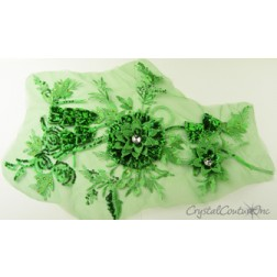 3D Green Embroidered Applique