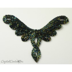 Dark Green AB Beaded Applique