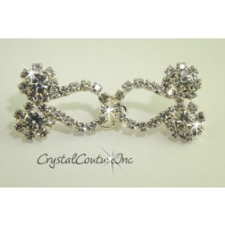"Crystal/Silver Rhinestone Hook & Eye Set  3/4""x1 1/2"" (small)"