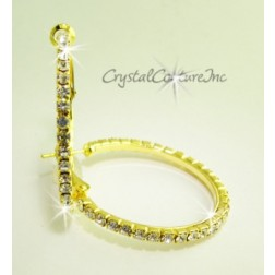 "Crystal/Gold Rhinestone Single Row 1.25"" Hoop Earring"