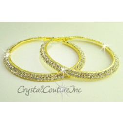 "Crystal/Gold Rhinestone Double Row 2.75"" Hoop Earring"