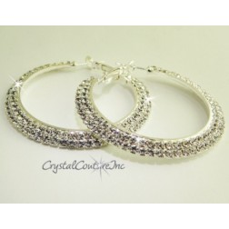 "Crystal/Silver Rhinestone Double Row 2.0"" Hoop Earring"