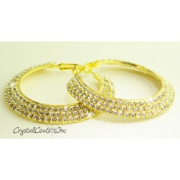"Crystal/Gold Rhinestone Triple Row 2.0"" Hoop Earring"