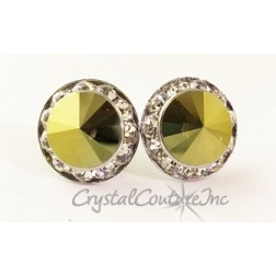 Iridescent Green 15mm Rondelle Post Earrings made with SWAROVSKI ELEMENTS