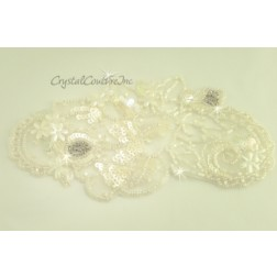 Ivory Sheer Beaded & Sequin Applique