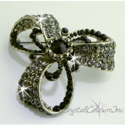 "Jet/Black Diamond Rhinestone Brooch 2.25"" x 2.25"""