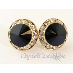 Jet 15mm Rondelle Post Earrings made with SWAROVSKI ELEMENTS