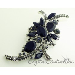"Jet/Black Diamond Rhinestone Brooch 4.25"" x 2.0"""