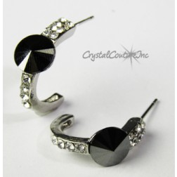 Jet Hematite 8mm Rivoli Post Earrings with Rhinestone Half Hoop