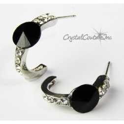 Jet 8mm Rivoli Post Earrings with Rhinestone Half Hoop