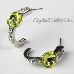 Jonquil 8mm Rivoli Post Earrings with Rhinestone Half Hoop