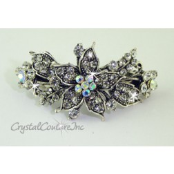 "Crystal Small Flower & Crystal/CrystalAB Rhinestone 2.25"" Barrette"