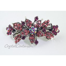 "Rose Small Flower & Rose/Fuchsia/Rose AB Rhinestone 2.25"" Barrette"