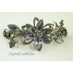 "Black Diamond Navette &  Rhinestone 3.5"" Barrette"