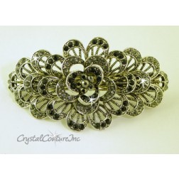 "Black Diamond Flower Burst & Black Diamond/Jet/Lt Chrome Rhinestone 3.5"" Barrette"