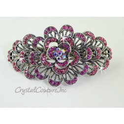 "Rose Flower Burst & Rose/Fuchsia/Rose AB Rhinestone 3.5"" Barrette"