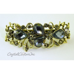"Black Diamond Pear & Black Diamond/Lt Chrome Rhinestone with Gold 3.5"" Barrette"