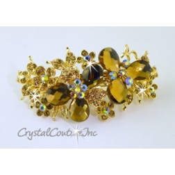 "Lt Colorado Topaz Pear/Flower & Lt Peach/Lt Colorado Topaz/Lt Colorado Topaz AB Rhinestone 3.5"" Barrette"