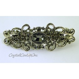 "Black Diamond Oval & Black Diamond Rhinestone 3.25"" Barrette"