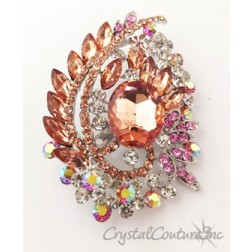 "Lt Peach, Rose & Crystal Rhinestone Brooch 3.75"" x 2.5"""