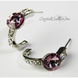 Lt Amethyst 8mm Rivoli Post Earrings with Rhinestone Half Hoop