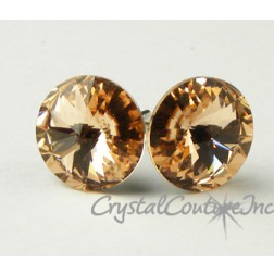 Lt Peach 10mm Rivoli Post Earrings made with SWAROVSKI ELEMENTS