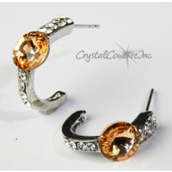 Lt Peach 8mm Rivoli Post Earrings with Rhinestone Half Hoop