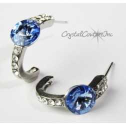 Lt Sapphire 8mm Rivoli Post Earrings with Rhinestone Half Hoop