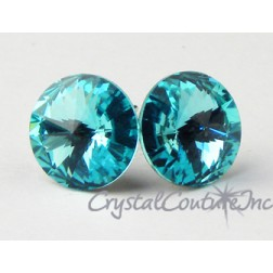 Lt Turquoise 10mm Rivoli Post Earrings made with SWAROVSKI ELEMENTS