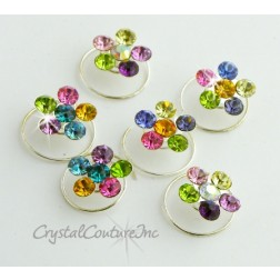 Multi Color Rhinestone Flower Hair Coils