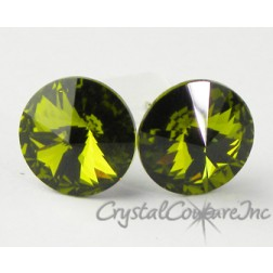 Olivine 10mm Rivoli Post Earrings made with SWAROVSKI ELEMENTS