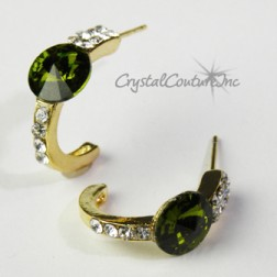 Olivine/Gold 8mm Rivoli Post Earrings with Rhinestone Half Hoop