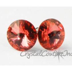 Padparadscha 10mm Rivoli Post Earrings made with SWAROVSKI ELEMENTS