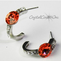 Padparadscha 8mm Rivoli Post Earrings with Rhinestone Half Hoop