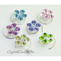 Pastel Mix Rhinestone Flower Hair Coils