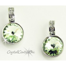 Chrysolite 15mm Linked Earring with Single Row Crystal Rhinestones