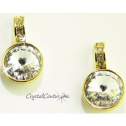 Crystal 15mm Linked Gold Earring with Single Row Crystal Rhinestones