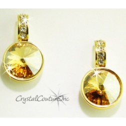Golden Shadow 15mm Linked Gold Earring with Single Row Crystal Rhinestones