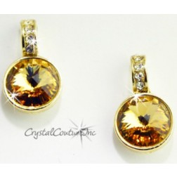Lt Colorado Topaz 15mm Linked Gold Earring with Single Row Crystal Rhinestones